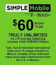 Simple Mobile sim preloaded with $60.00 dollar plan