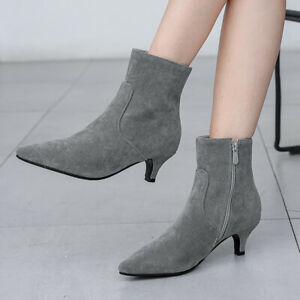 Womens Ankle Boots Zip Pointed Toe Low Heel Casual Short Booties Shoes US 6 Gray