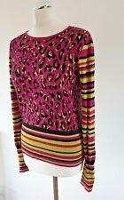 Biba Womens Animal Print Jumper Sweater Pullover Long Sleeve UK 10 Quirky Bright