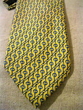 BURBERRY Tie Yellow Blue Silk Equestrian Tack Bridle Hardware USA MADE