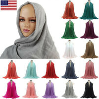 Women Cotton Linen Maxi Crinkle Cloud Hijab Soft Islam Muslim Shawl Scarf Wraps