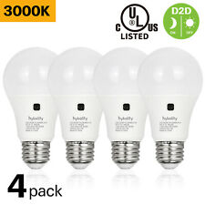 Hykolity 4 Pack Dusk to Dawn A19 LED Bulbs 60W Equivalent 9W 800LM 3000K Warm UL