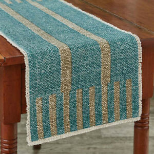 River Runner Aqua Tan Stripe Woven Cotton Country Cottage Table Runner