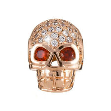 Brass Hollow Skull Bead 13x10x7mm strass Micro Pave Or Rose PK1 (H89/8)