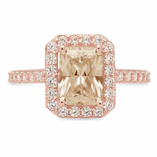 2.07 ct Emerald Halo Champagne Stone Promise Bridal Wedding Ring 14k Rose Gold