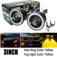 "2x 3"" inch Yellow Projector LED Fog Light w/ Amber Angel Eyes Halo Ring 12V"