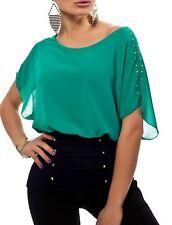Sexy Damen Chiffon Pump Long Bluse Shirt Fledermaus 34/36/38 TOP schwarz grün