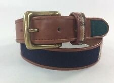 Fossil Brown Leather M, Women's Belt, Wool inserts, Red, Green, Blue, Plaid,