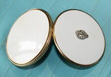 Vintage DOUBLE VANITY CASE COMPACT, Powder/Rouge/2 Puffs, Rhinestone Flower Deco