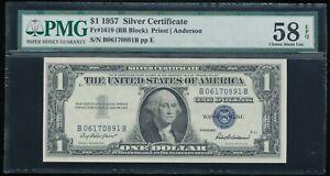 1957 $1 Silver Certificate PMG Choice About Uncirculated 58 EPQ *B-B Block!*