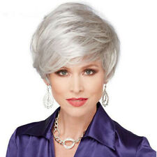 Fashion Ladies Vogue Silver White Mix Short Wigs Full Curly Wavy Hair Wig Pexie