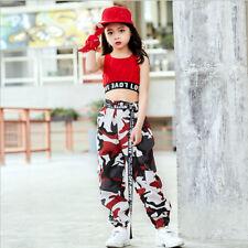 Mädchen Tanzkleidung Outfits Kinder Hip-Hop Tanzen Jazzdance Kostüm Top & Hosen