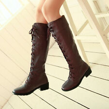 Retro Womens Low Heels Military Riding Boots Roman Lace Up Knee High Boots US SZ