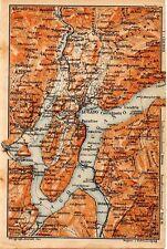 Carta geografica antica SVIZZERA Lago di Lugano Old Map Switzerland Suisse 1905