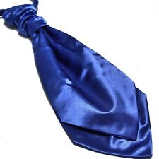 Men Wedding Party Ascot Scrunch Ruche Cravat Satin Pretie Tie Tuxedo Royal Blue