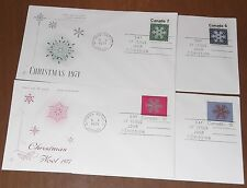 Canada 554-57 Christmas '71 Snowflakes RoseCraft set of single, Fdcs