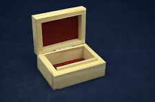 Small Plain Wooden Gift Jewellery Box Suede Inside for Decoupage and other Craft