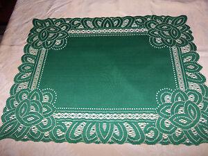 Lace Table Doily/Placemat Green Battenburg design  19 x 14 set of 2
