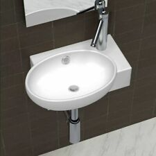 vidaXL Ceramic Sink Basin Faucet & Overflow Hole Bathroom White Oval Fixture