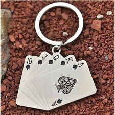 Mode poker keychain hombres masculina personalidad llavero metal
