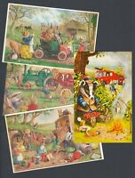 FOUR Racey Helps Printed Postcards Unused Light Ageing Vehicles Animal Bunny Art