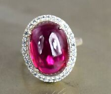 Huge & Rare 12.87 Ct Burma Ruby 925 Silver Women's Ring Natural Oval Cabochon