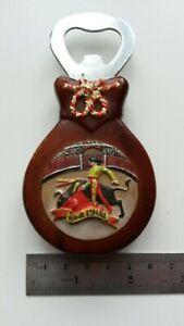 "Wooden Bull Fighting Matador Bottle Opener ""Rdo de ESPANA"" Magnet"
