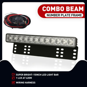 """15"""" Number Plate LED Driving Light Bar Frame Car SUV Offroad 4X4 Combo Beam Slim"""