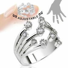 TJS Fountain Midi Ring Clear CZ Rhodium PL Brass Toe Finger Knuckle Adjustable