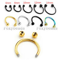 16G 6-14MM Steel Horseshoe Bar Lip Nose Septum Helix Tragus Earring Piercing FB