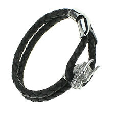 Leather braided mens wristband bracelet with stainless steel dragon head