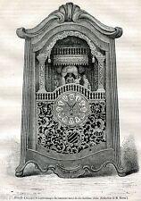 Pendolo a Musica e Personaggi,1700.Orologeria. Stampa Antica + Passepartout.1882