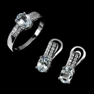 Unheated Oval Aquamarine 14K White Gold Plate Cz 925 Sterling Silver Sets