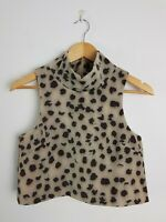 C/Meo Collective Cropped Leopard Party Club Top Women's XS High Neck Sleeveless