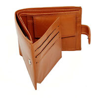 Mens RFID Blocking Soft Tan Leather Trifold Coin Pocket Pouch Wallet Purse 895