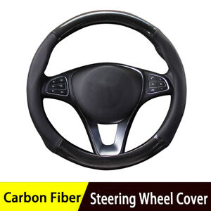 15''/38cm Car Black Carbon Fiber Steering Wheel Cover Leather Non-slip Universal