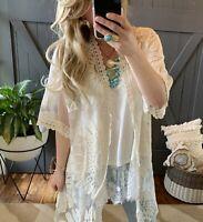 2X NWT Boutique Plus Size Boho Ivory Eyelet Lace Kimono Maxi Duster Jacket Top