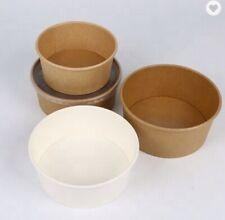 Takeaway 750ml Round Paperboard Kraft & White Bowl (300 Box)