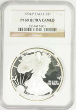 1994 P American Silver Eagle $1 PF 69 Ultra Cameo NGC Graded Coin