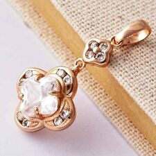 Womens Cute Flower Fashion Crystal Pendant Rose Gold Plate for collar necklace