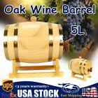 5L Pine Wood Barrel Wine Whiskey Rum Beer Spirits Keg Wooden Dispenser Storage
