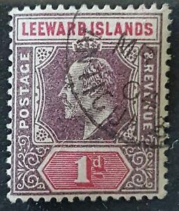 Leeward Islands - 1902 - Sc 21 - 1p Violet and Carmine Rose KEVII WMK 2 VF Used