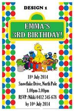 20 x SESAME STREET CHILDRENS BIRTHDAY PARTY PERSONALISED INVITATIONS + MAGNETS