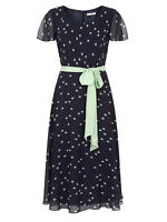 New Jacques Vert dress 16 Chiffon Navy Blue Green Spotted Fit Flare belt £169