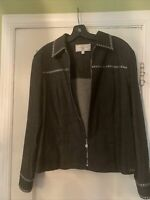 ST. JOHN SPORT by Marie Gray Women's Black Zip Up Jacket Sz Med Black and Silver