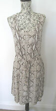H&M - BROWN SNAKE PRINT, SLEEVELESS, BEACH MINI DRESS SIZE SMALL 100% VISCOSE
