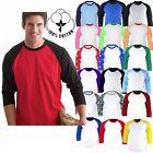 Mens Baseball 3/4 Sleeve Raglan Cotton TShirts Tee Jersey Top Women t shirt