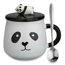 Lovely Cute 3D Panda Ceramic Coffee Mug Milk Tea Cup with Funny Lid and Stain...