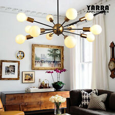 12-Light Pendant Light Industrial Style in Brass/Matt Black
