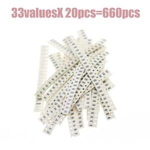 1206 SMD Resistor Kit Assorted Kit 1ohm-1M 1% 33valuesX 20pcs=660pcs Sample kits